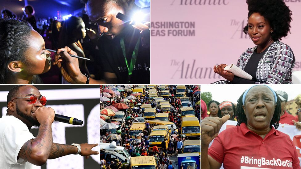 Top left: A make-up artist uses a phone's light to prepare a model following an electrical problem during the Lagos Fashion Week. Top right: Chimamanda Ngozi Adichie. Bottom left: Musician Davido. Bottom centre: Buses and shoppers in Lagos, Nigeria. Bottom righ: A BringBackOurGirls campaigner