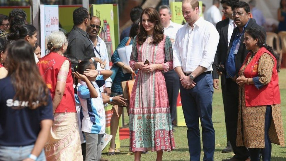 William and Catherine visiting Mumbai's Oval Maidan recreation ground