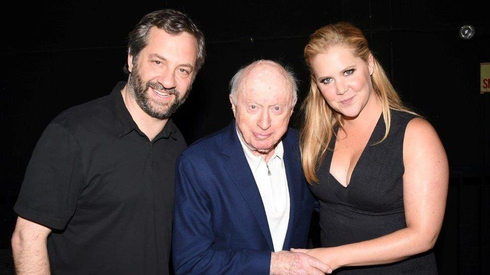 Norman Lloyd with Judd Apatow (left) and Amy Schumer in 2015