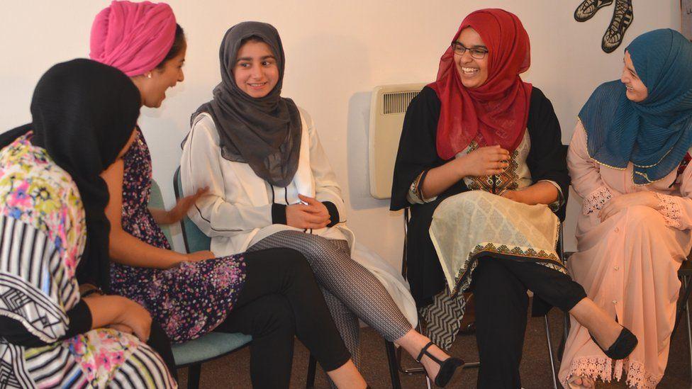 Young women at Speaker's Corner in Bradford