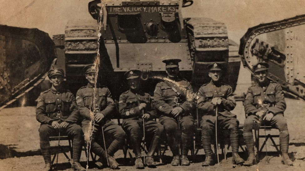 Arthur Fish (far left) with the Royal Tanks Corps. He returned from the war but his career at Cardiff City was over