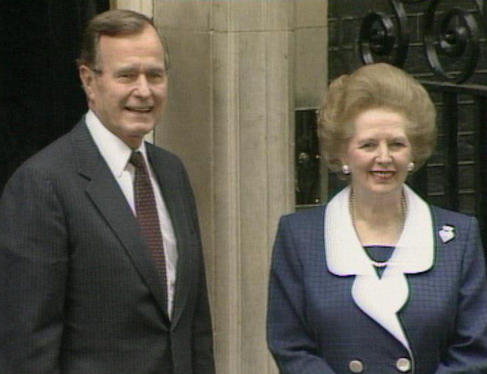 George H W Bush with Margaret Thatcher