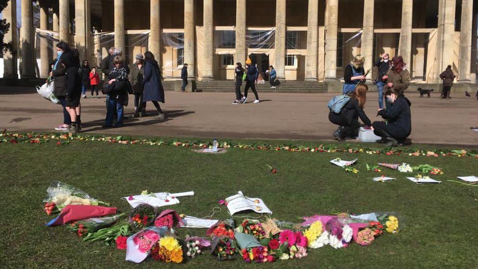 Flowers laid in memory of Ms Everard in Cheltenham