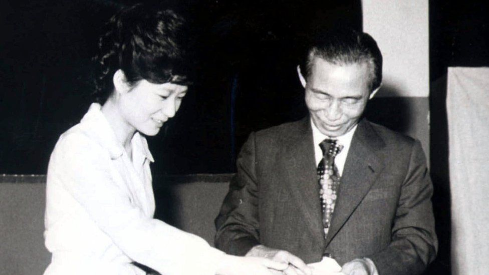 President Park with her late father, President Park Chung-hee, in 1977