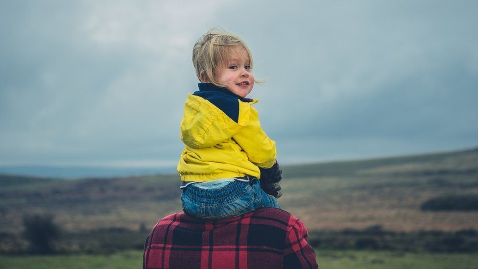 Child with father on a moor