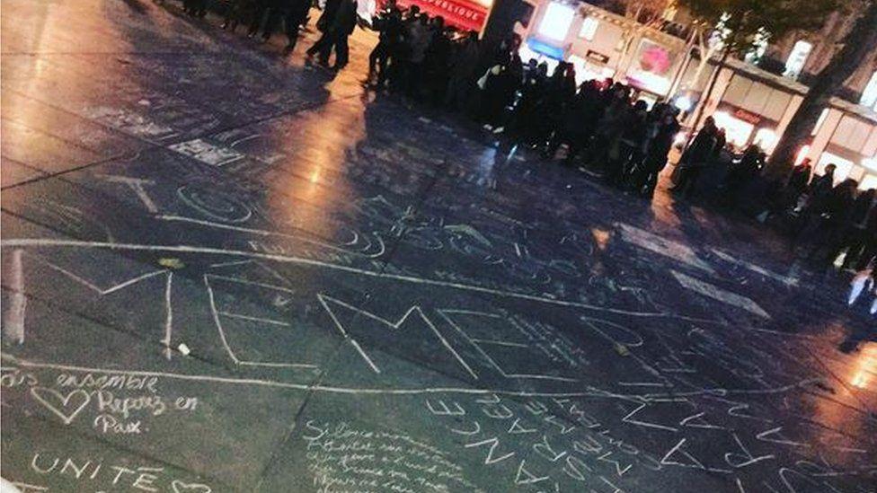 Tributes at the Place de la Republique, Paris