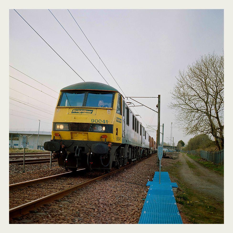 Heather Waugh drives a Class 90 locomotive