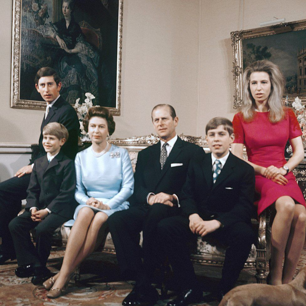 Prince of Wales, Prince Edward, Queen Elizabeth II, the Duke of Edinburgh, Prince Andrew, and Princess Anne at Buckingham Palace, London