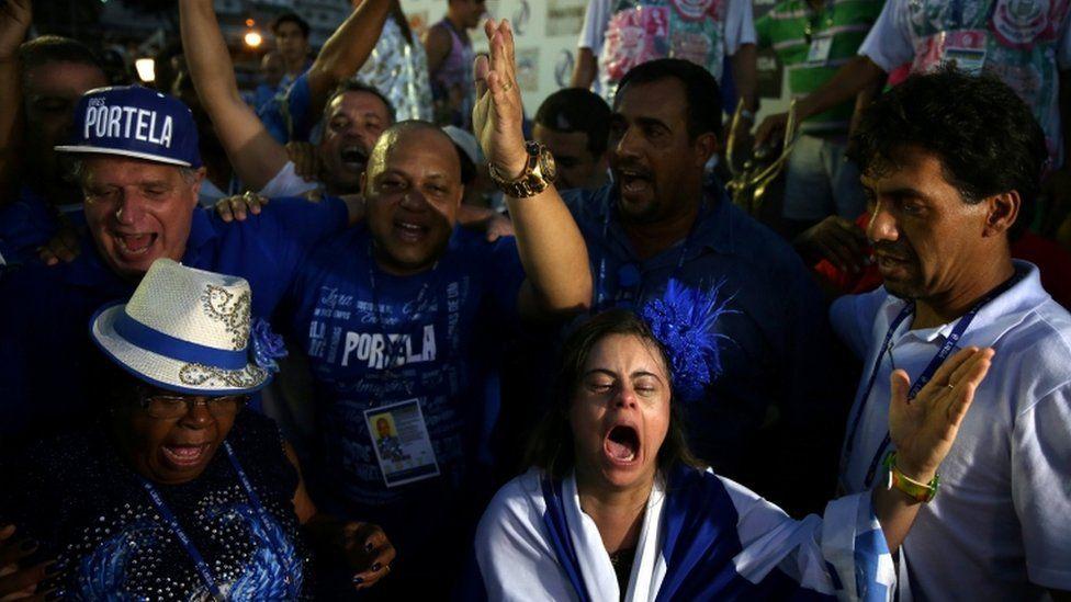 Portela members celebrate win at the Sambadrome