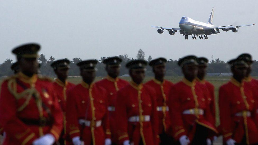An aeroplane landing at an airport in Dar es Salaam