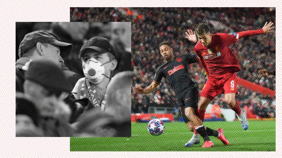 Football supporters wearing masks / Liverpool game