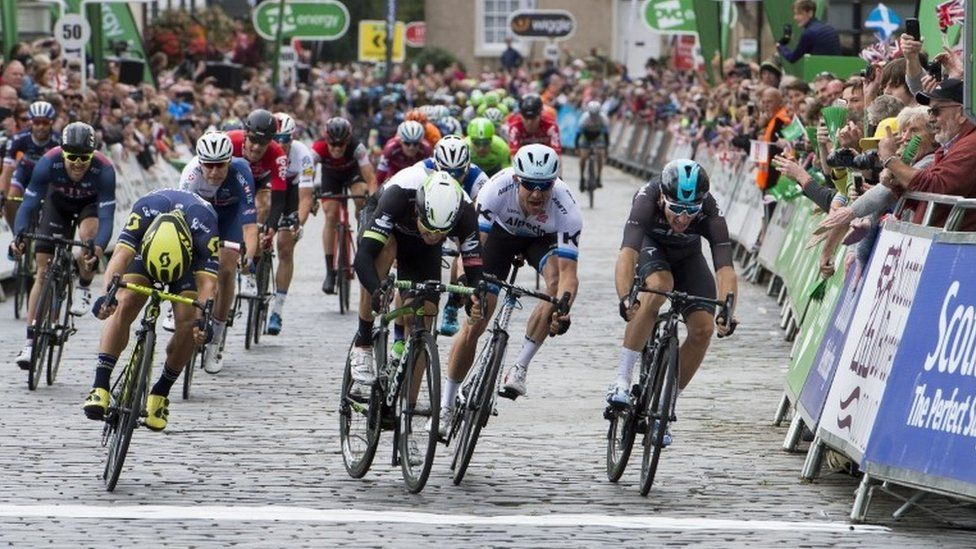 Cyclists at finish line