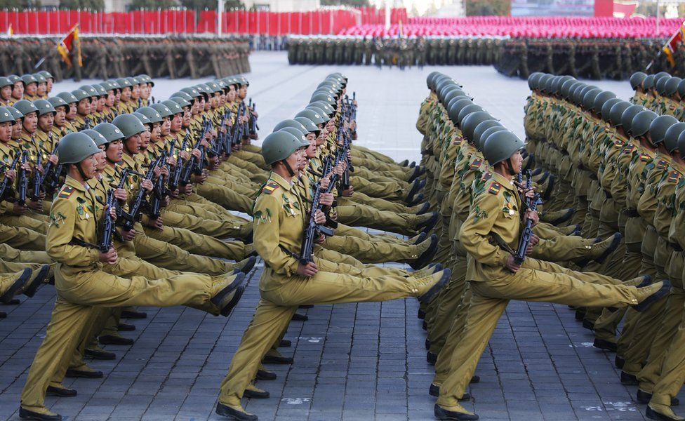 Soldiers marching during the military parade for the 70th anniversary of the founding Workers' Party, Pyongyang, North Korea - Saturday 10 October 2015