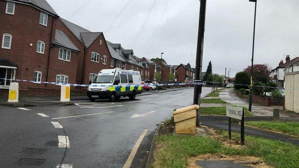 The police cordon on Thursday