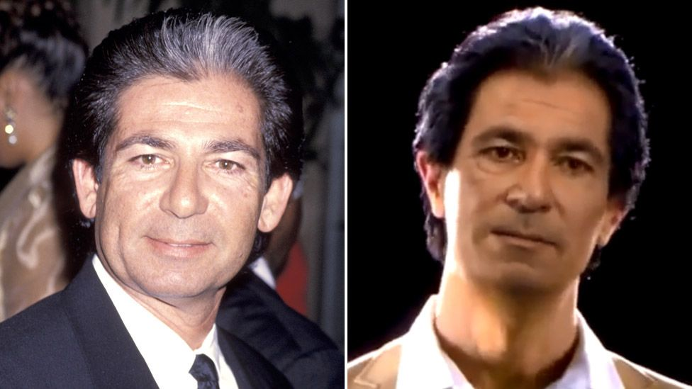 Robert Kardashian in 1994 (left) and in the hologram