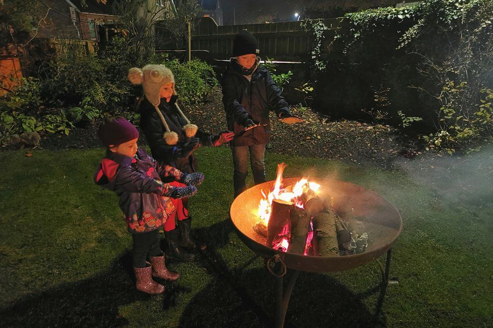 Children and a fire