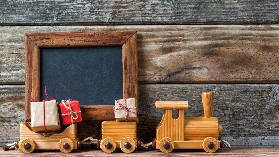 A wooden toy train