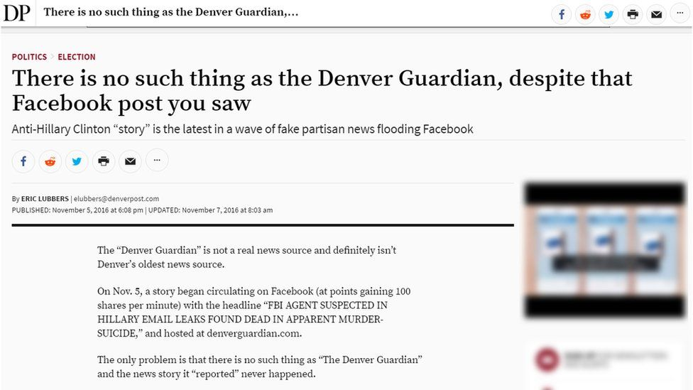 """The Denver Post headline reads """"There is no such thing as the Denver Guardian, despite that Facebook post you saw"""""""