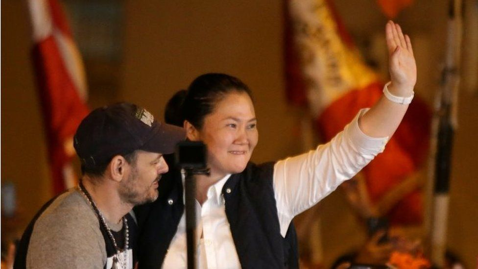 Keiko Fujimori greets supporters after she was released from the Santa Monica prison, in Lima, Peru November 29, 2019.