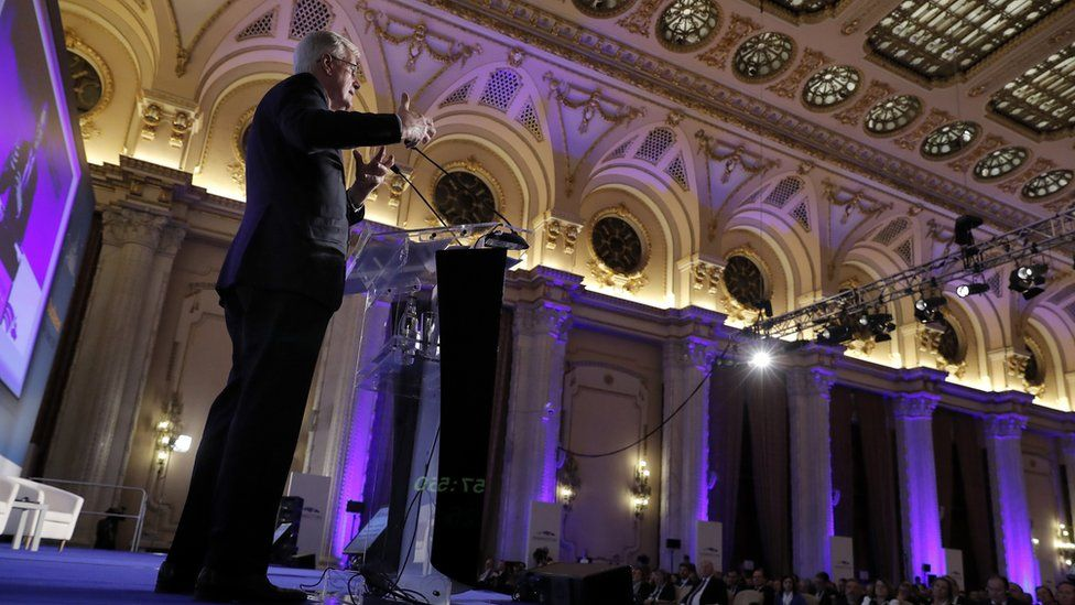 Michel Barnier, EU Chief Negotiator for Brexit, delivers a speech on Brexit impact for the EU regions and cities, at the 8th European Summit of Regions and Cities held at the Romanian parliament Headquarters in Bucharest