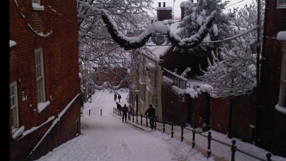 Steep Street in Lincoln in the snow