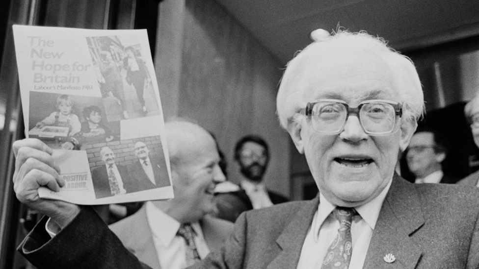 Picture of Michael Foot with Labour's 1983 manifesto