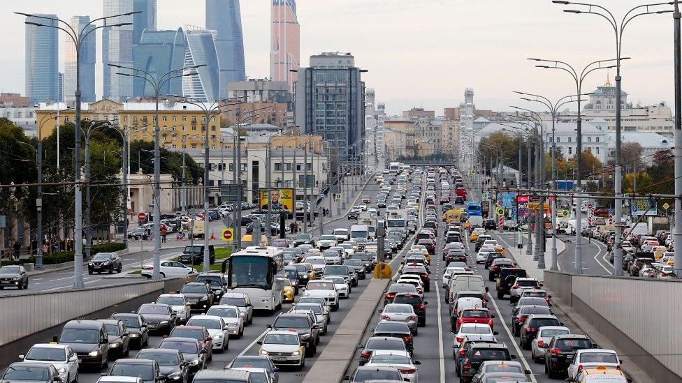A view of the traffic jam during rush hour at Krymsky Val Avenue in Moscow, Russia on 10 October 2018