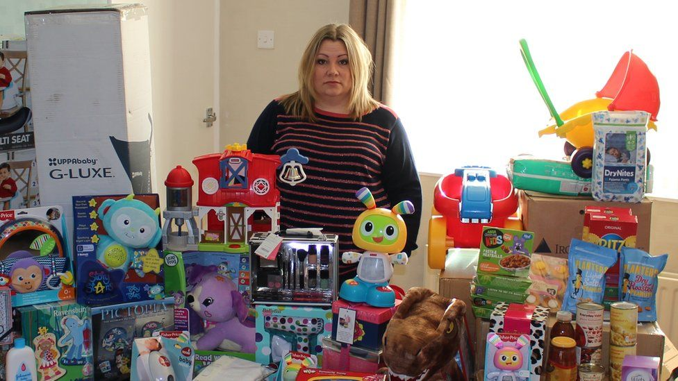 Jaime Oliver surrounded by some of the items which have been donated
