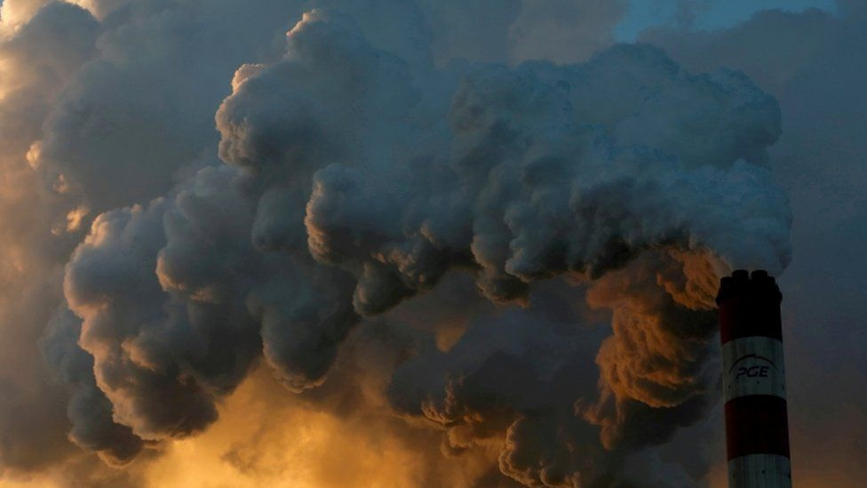Smoke and steam from Belchatow coal-fired power station in Poland