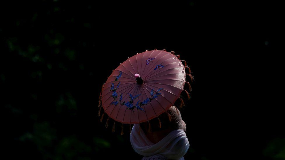 A woman holds a parasol in Washington