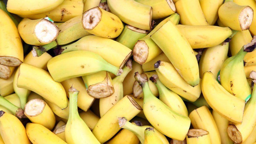 Bananas cut in half
