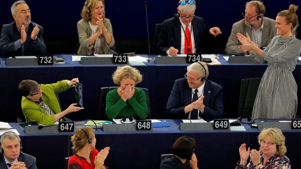 Rapporteur Judith Sargentini is congratulated after members of the European Parliament took part in a vote on the situation in Hungary