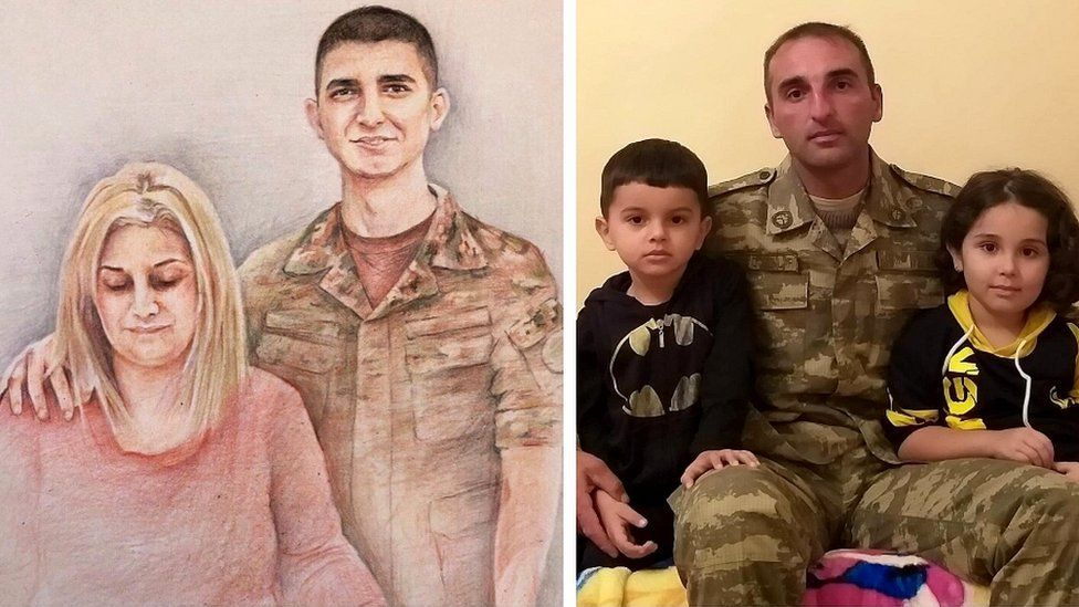 Composite image of Sargis Hakopyan with his mother (L) and Fariz Gasanov and his children
