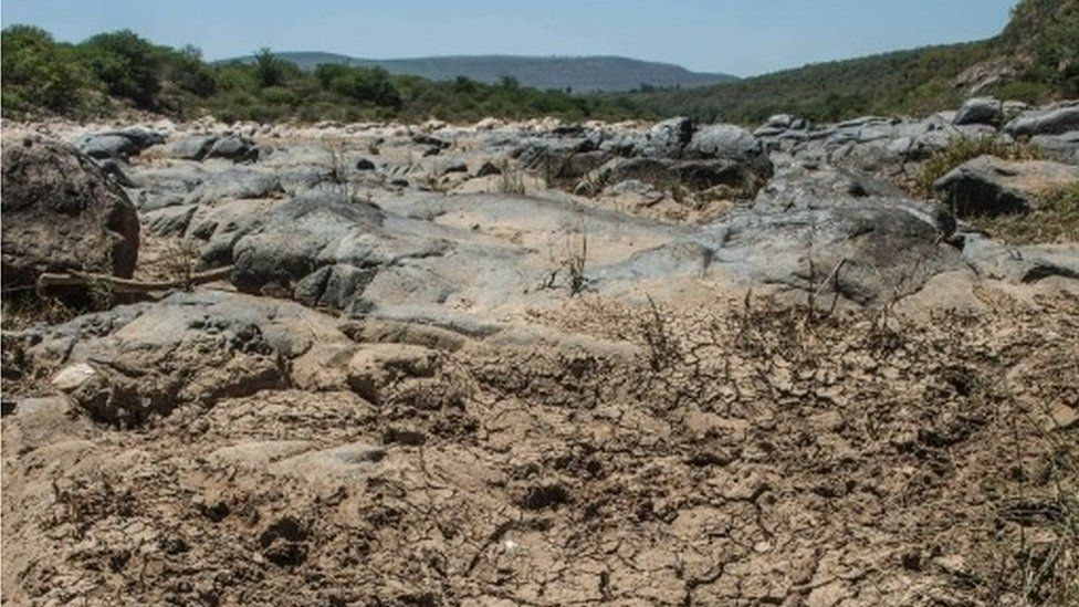 A view taken on 9 November 2015 shows the dried up Mfolozi River in Ulundi, some 159km North of Durban in KwaZulu Natal, as a sever drought affects South Africa
