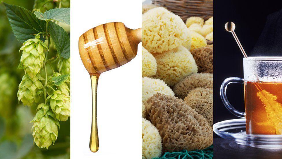 Hopes, a honey pourer, sponges and a tea cup