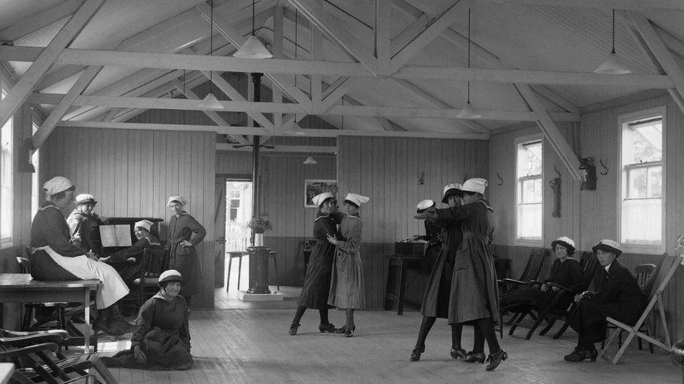 Women of the WRNS enjoy a dance in their recreation room on Osea Island, summer 1918