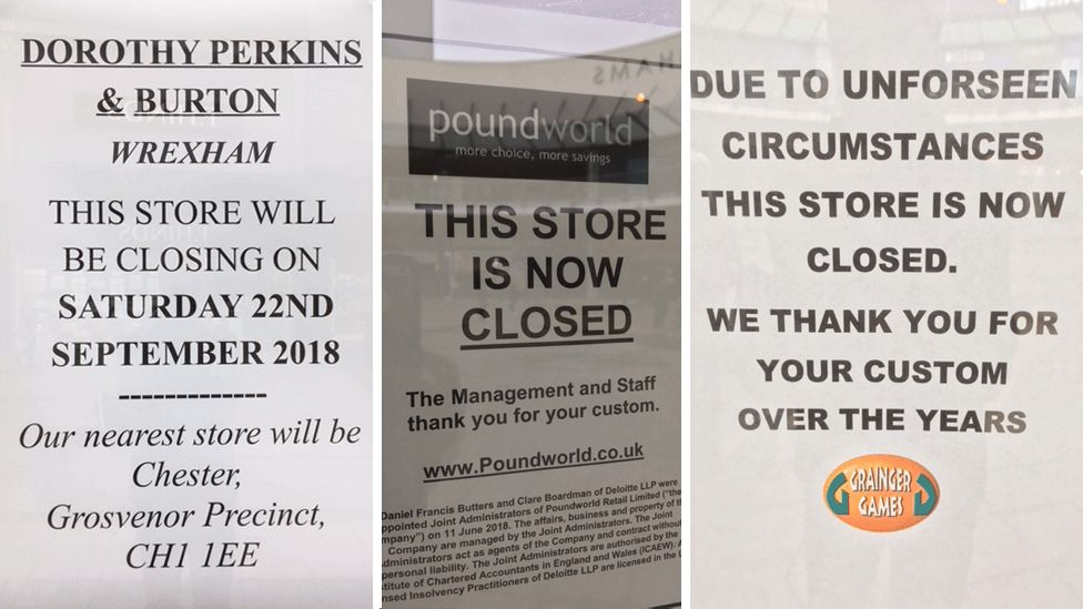 Closure notices on the shop windows of Burton, Dorothy Perkins, Grainger Games and Poundworld