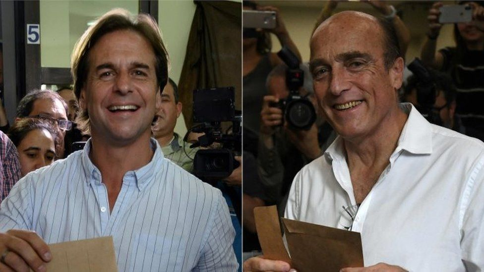 Luis Lacalle(left) at a polling station and Daniel Martinez, also at a polling station on election day