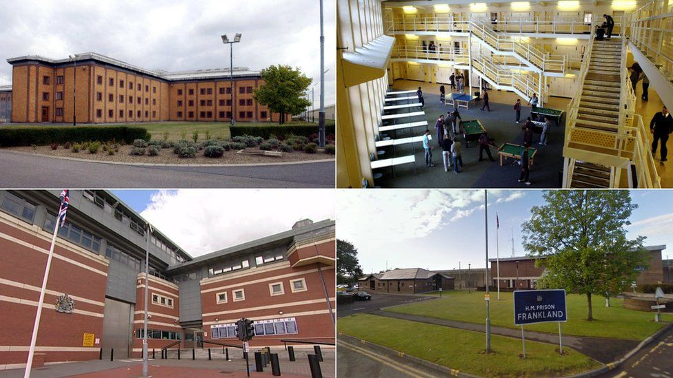 Clockwise from top left: Belmarsh Prison, HMP Woodhill, HMP Frankland and HMP Manchester