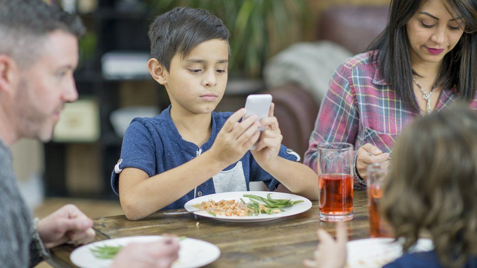 A boy on his phone at the dinner table