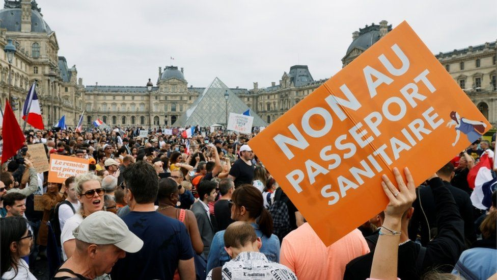 A demonstration against the new French Covid health pass in Paris, July 2021