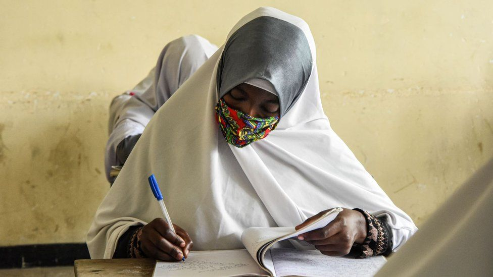 Students attend a class on their first day of re-opened school in Dar es Salaam, Tanzania, on June 1, 2020.