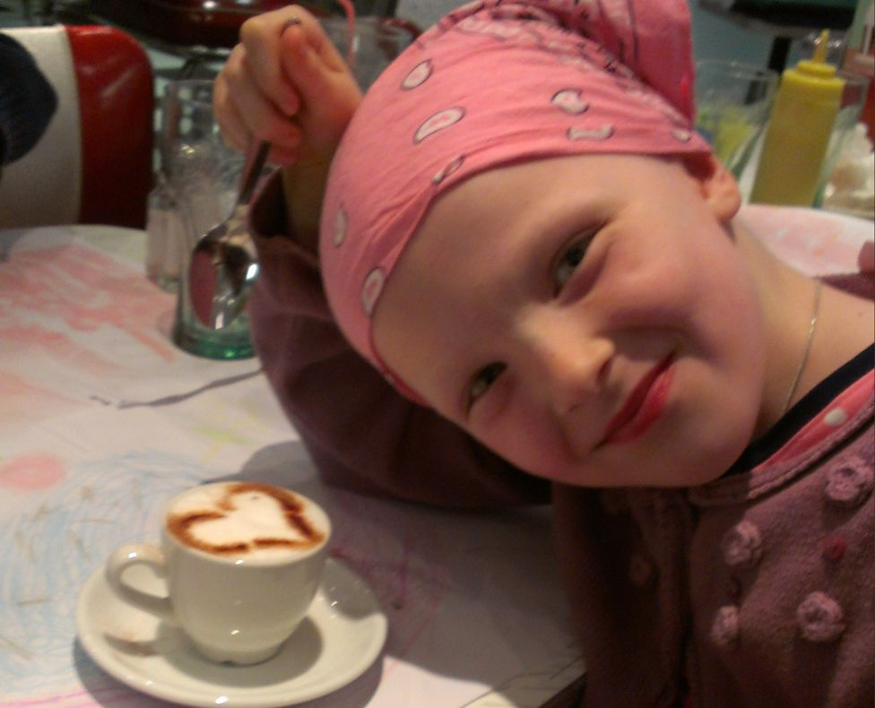 Niamh with a cup of hot chocolate