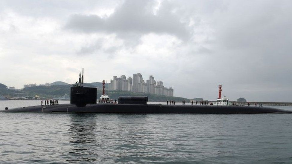 The US submarine USS Michigan stationed in South Korea