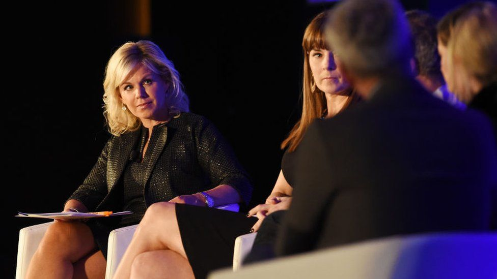 News anchor Gretchen Carlson moderates a panel discussion during the American Magazine Media Conference 2017.