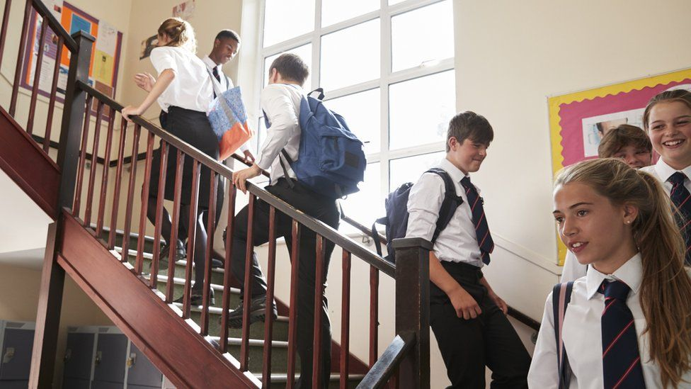 school pupils on stairs