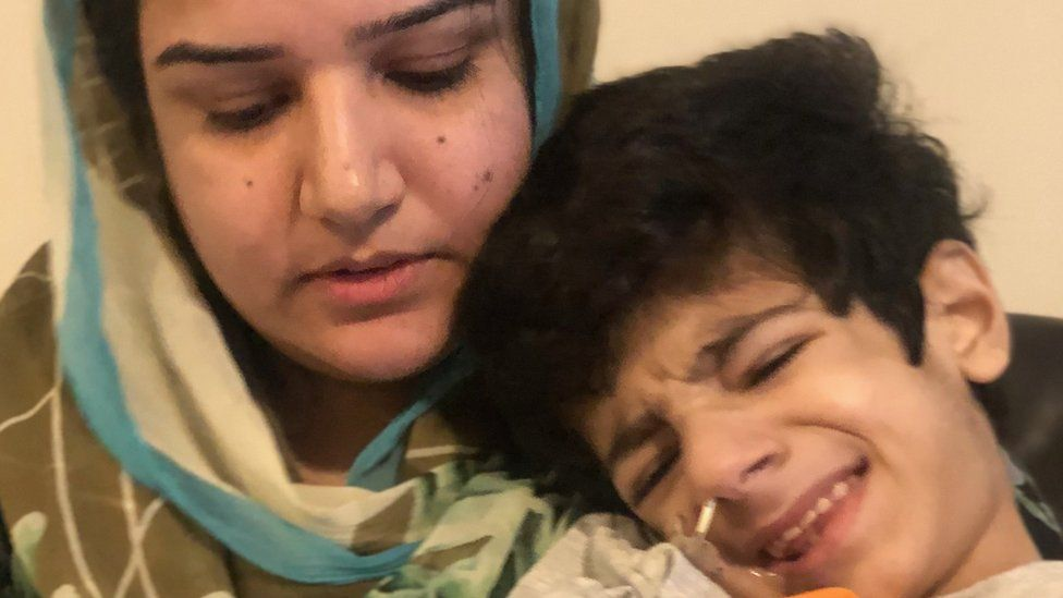 Anila with her son Shahryar, who has a life threatening disorder which can be triggered by protein