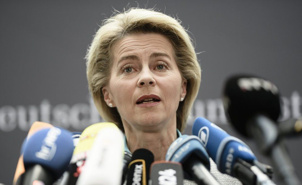 German Defence Minister Ursula von der Leyen at the Defence Committee of the German Parliament