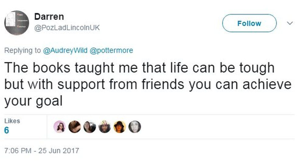 The books taught me that life can be tough but with support from friends you can achieve your goal