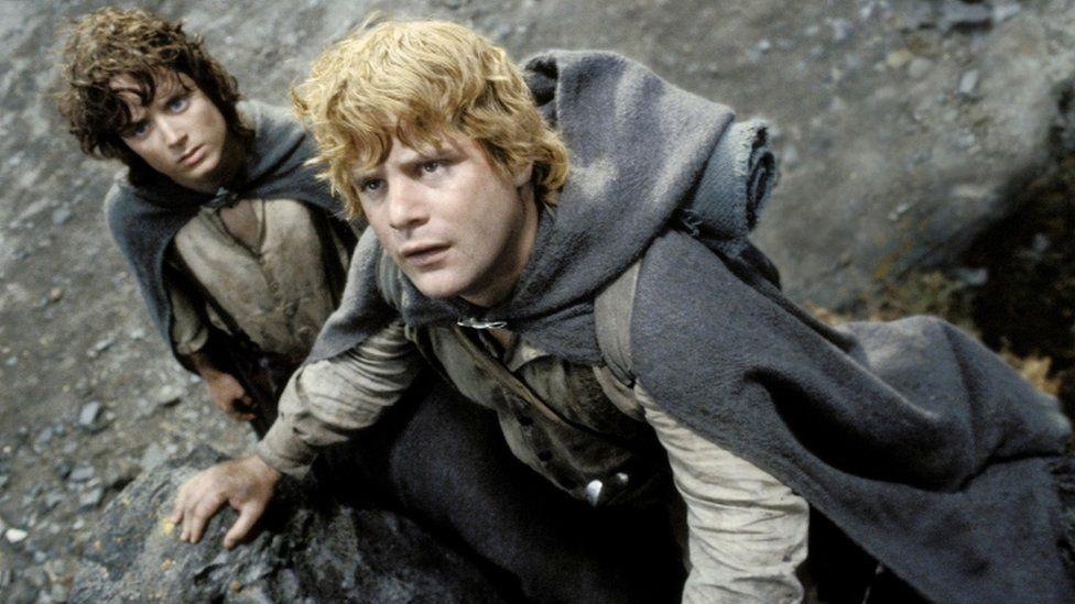 Elijah Wood as Frodo Baggins and Sean Astin as Samwise Gamgee
